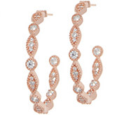 Diamonique 1 Round & Marquise Hoop Earrings Sterling - J356837