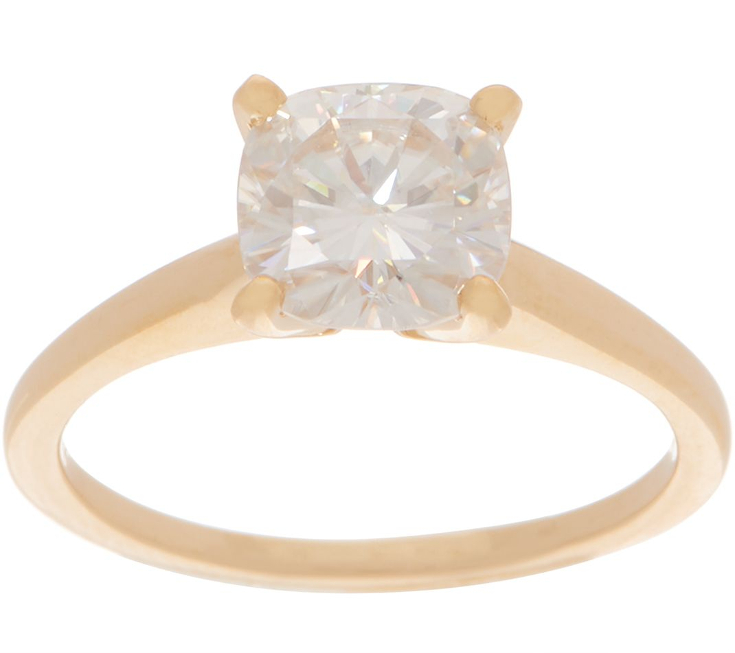 21b0917b6e284 Moissanite 2.0ct Cushion Solitaire Ring, 14K Gold — QVC.com