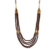 As Is Joan Rivers Layered Wooden Bead 38 Necklace w/ 3 Extender - J358237