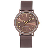 Nine West Womens Brown Rubberized Mesh Bracelet Watch - J384337