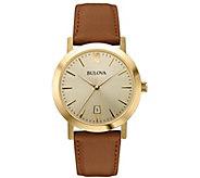 Bulova Mens Stainless Steel Goldtone Leather Strap Watch - J384437