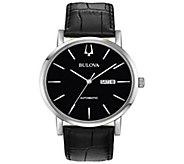 Bulova Mens Classic Automatic Black Leather Strap Watch - J384637