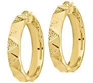 Italian Gold 1-1/8 Diamond-Cut, Zigzag Hoop Earrings, 14K - J385637