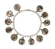 Sterling Silver 12 Saint Medal  7-1/2 Rolo Link Bracelet - J108338