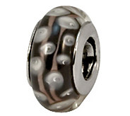 Prerogatives Sterling Black/White/Gray Glass Bead - J109238