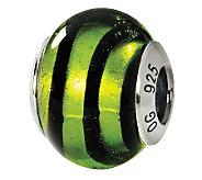 Prerogatives Sterling Green Swirls Italian Murano Glass Bead - J111538
