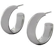 UltraFine Silver 1 Polished Round Hoop Earrings - J113938