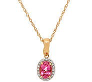 Pink Tourmaline & Diamond Enhancer w/ Chain, 14K Gold 0.60 ct - J326338
