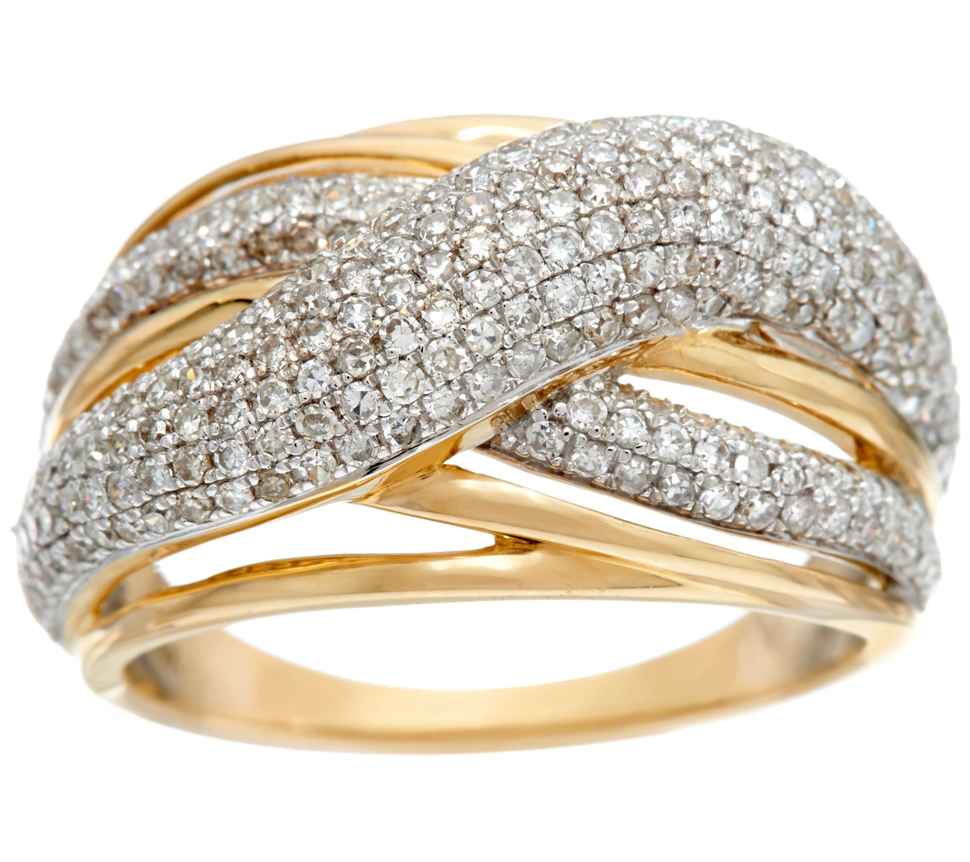 As Is Domed Pave Crossover Ring 14k Gold 1 00 Cttw By Affinity
