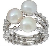 Honora Cultured Pearl Set of 3 Stack Rings, Sterling Silver - J348538