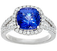 Cushion Cut Tanzanite & Diamond Ring, 14K Gold 3.00 cts - J348838