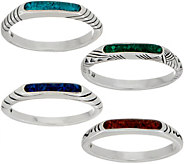 American West Gemstone Inlay Sterling Silver Set of 4 Stack Rings - J351738