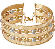 As Is Arte dOro Average Multi-Row Cuff Bracelet 18K Gold, 27.0g - J355838