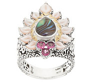 Barbara Bixby Sterling Silver & 18K Gold Abalone Doublet Ring - J358038