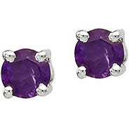 Sterling Round Gemstone Stud Post Earrings - J378038