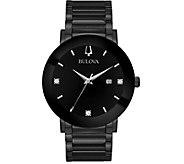 Bulova Mens Black Stainless Bracelet Diamond Accent Watch - J378538