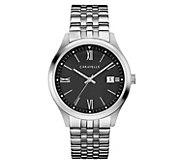 Caravelle Mens Stainless Steel Black Dial Bracelet Watch - J383338
