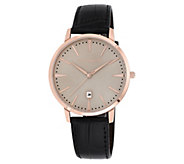 Vince Camuto Mens Rosetone & Black Leather Strap Watch - J383538