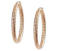 EternaGold Bold Spiral Diamond Cut Oval Hoop Earrings - J392038