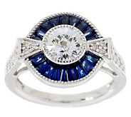 TOVA for Diamonique Simulated Blue Sapphire Ring, Sterling - J281139