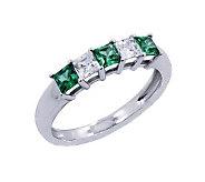 Diamonique & Simulated Emerald Band Ring, Platinum Clad - J302439
