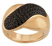 As Is 1.00 ct tw Black Spinel Wave Design Ring, 14K - J332139