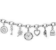 Anne Klein Womens Silvertone Charm Watch - J338739