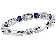 Blue Sapphire & Diamond Eternity Band Ring, 14KWhite Gold - J340839