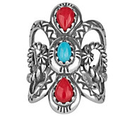 American West Sterling Turquoise & Coral Ring - J343339