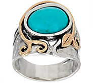 Or Paz Sterling Silver & 14K Gold Oval Turquoise Ring - J349039