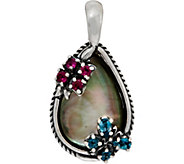 Carolyn Pollack Sterling Silver Black Mother of Pearl Butterfly Enhancer - J349439