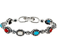 American West Sterling Silver Multi Gemstone Concha Tennis Bracelet - J352239