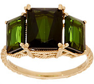 Judith Ripka 14K Gold Triple Stone Green Tourmaline Ring - J352539