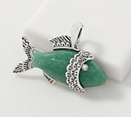 American West Sterling Silver Aventurine Fish Enhancer - J355639