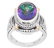 Artisan Crafted Sterling Silver & 18K Gold Mystic Quartz Ring - J356839