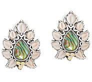 Barbara Bixby Sterling Silver & 18K Gold Abalone Doublet Button Earrings - J358039
