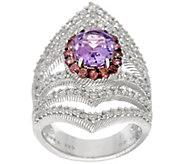 As Is Judith Ripka Sterling Amethyst 1.65 cttw Ring - J358439
