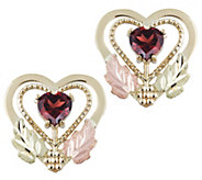 Black Hills Garnet Heart Stud Earrings, 10K/12KGold - J383939