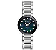 Bulova Womens Stainless Diamond Accent Black Bracelet Watch - J384239