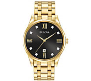 Bulova Mens Stainless Steel Goldtone Diamond Accent Watch - J384439