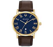 Bulova Mens Goldtone Slim-Profile Brown Leather Strap Watch - J384639