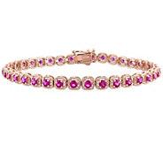 14K Rose Gold 3.70 cttw Pink Sapphire 7 TennisBracelet - J385139