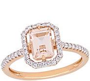 14K Gold 0.90 cttw Morganite & 1/5 cttw DiamondHalo Ring - J385339