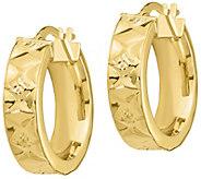 Italian Gold 3/4 Diamond-Cut, Zigzag Hoop Earrings, 14K - J385639