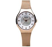 Bering Womens Rosetone Solar Mesh Bracelet Watch - J387939