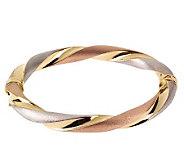 Arte dOro 7-1/2 Tri-Color Twisted Bangle Bracelet, 18K 15.5 - J110240