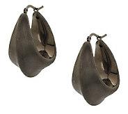 Italian Silver Sterling 1 Satin Finish Knife Edge Hoop Earrings - J288340