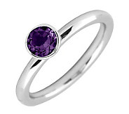 Simply Stacks Sterling 5mm Round Amethyst Solitaire Ring - J298740
