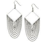Stainless Steel Diamond Shape with Dangle Chain Earrings - J309140