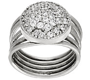 Italian Silver Sterling Pave Crystal Multi-Row Ring - J323840